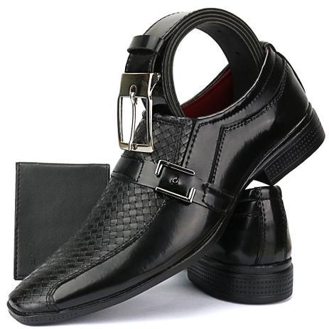 51530d51d Sapato Social Masculino Exclusivo Bico Fino Kit Cinto E Carteira - Ws shoes