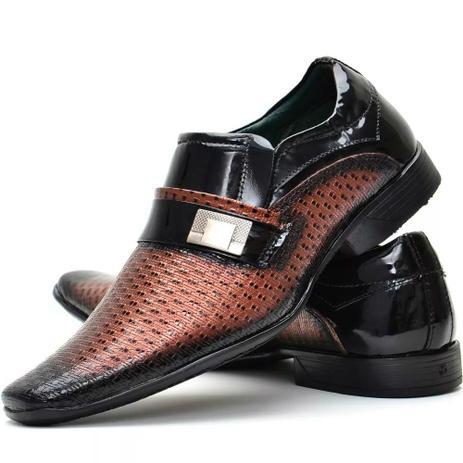 c8d9274e046 Sapato Social Masculino Preto Verniz Confortável Couro - Nevano ...