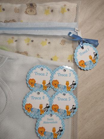Imagem de Saquinho Maternidade C/ Zíper Azul Bebê 6 Unidades + 6 Tag Safari Azul Bebê