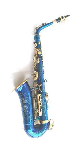 Imagem de Saxofone Alto Mib Azul Com Douradas Halk