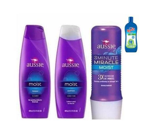 Imagem de Shampoo + Condicionador 400ml + 3 Minute 236ml Aussie Moist