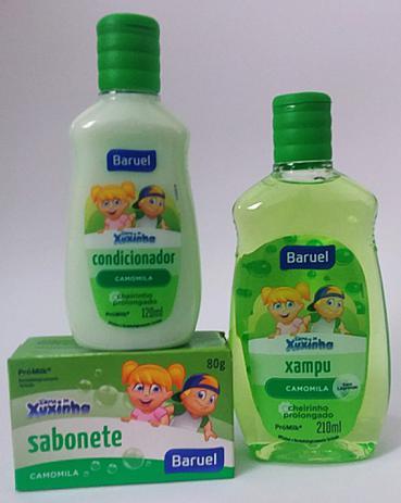 Imagem de Shampoo, condicionador e sabonete em barra Camomila- Kit chá de bebê Turma da Xuxinha