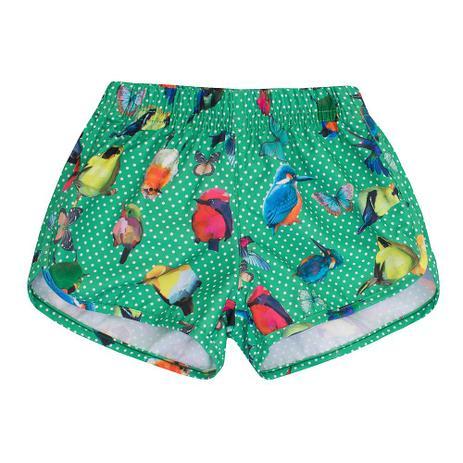 faa133902 Short-Praia Infantil Feminino Poá e Pássaros - 1+1 - Short Infantil ...