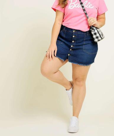 Imagem de Short Saia Plus Size Feminino Jeans Botões