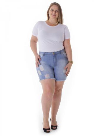 Imagem de Shorts Jeans Feminino com Elastano Plus Size