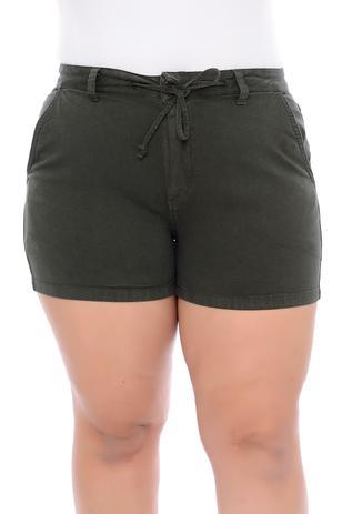 Imagem de Shorts Plus Size Militar Sarja Amarração