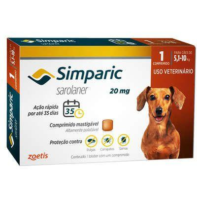 Imagem de Simparic 20 mg antipulgas e carrapatos para cães 5,1 a 10 kg  1 comprimido