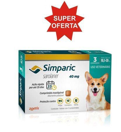 Imagem de Simparic 40mg Antipulgas Cães 10 A 20 Kg Caixa 3 Comprimidos