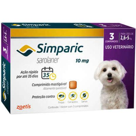 Imagem de Simparic antipulgas, carrapatos e sarnas para Cães de 2,6 a 5Kg com 3 comprimidos