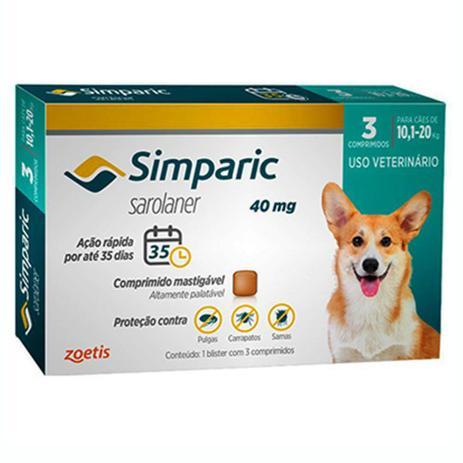 Imagem de Simparic Antipulgas E Carrapatos Caes 10,1 A 20 Kg C/3 Comprimidos