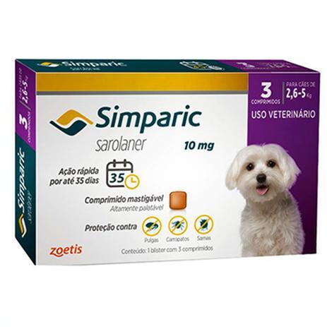Imagem de Simparic Antipulgas E Carrapatos Caes 2,6 A 5kg C/3 Comprimidos