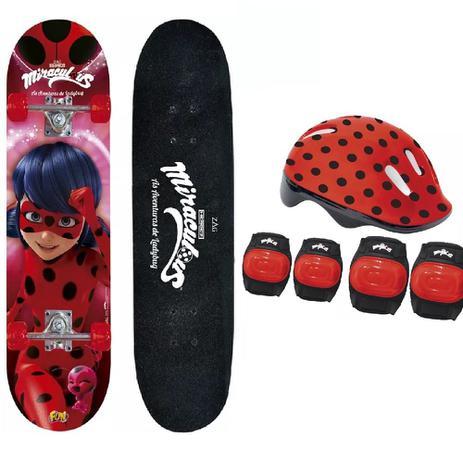 Skate Miraculous Ladybug Com Acessórios de Segurança Fun 8108-3 - Fun  divirta-se 6fa4e66971f
