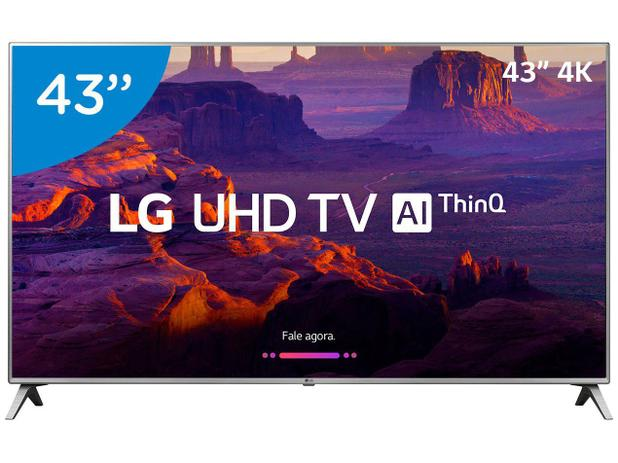 "9ab7d37010af2 Smart TV 4K LED 43"" LG 43UK6520 Wi-Fi HDR - Inteligência Artificial  Conversor Digital 4 HDMI"