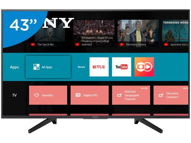 "9a2914fb3e5c9 Smart TV 4K LED 43"" Sony KD-43X705F Wi-Fi - HDR Conversor Digital 3 HDMI 3  USB"