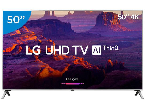 "f3be0a35fe129 Smart TV 4K LED 50"" LG 50UK6520 Wi-Fi HDR - Inteligência Artificial  Conversor Digital 4 HDMI"