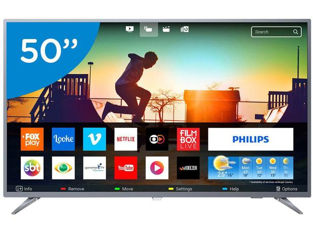 "b39e15545a429 Smart TV 4K LED 50"" Philips 50PUG6513 78 Wi-Fi - Conversor Digital 3 HDMI 2  USB"