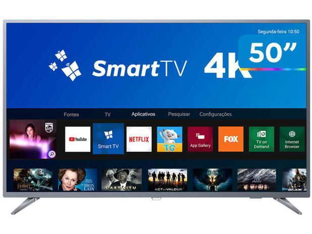 "Smart TV 4K LED 50"" Philips 50PUG6513/78 Wi-Fi - Conversor Digital 3 HDMI 2  USB"