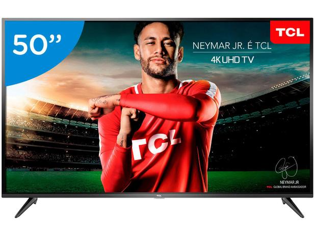 "f143ccf5a954 Smart TV 4K LED 50"" TCL P65US Wi-Fi HDR - Conversor Digital 3 HDMI 2 USB"
