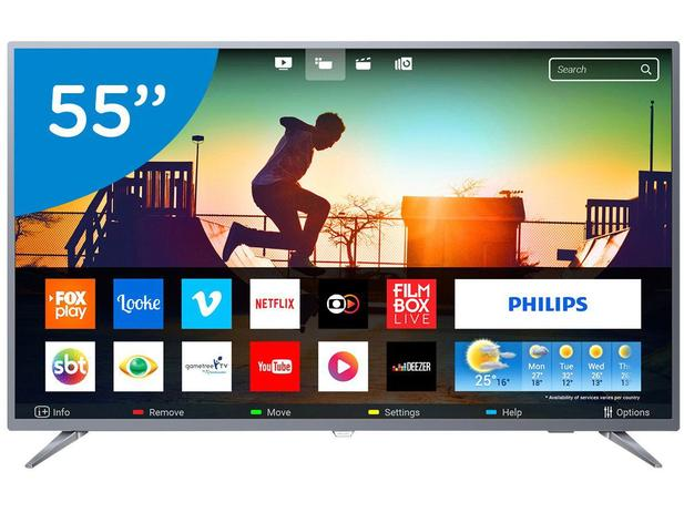 "967b2a195 Smart TV 4K LED 55"" Philips 55PUG6513 78 - Wi-Fi Conversor Digital 3 HDMI 2  USB"