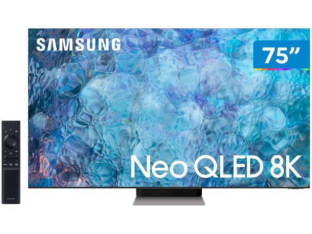 """Smart TV 75"""" 8K NEO QLED Mini Led Samsung 75QN900A - 120hz Som em Movimento Plus Única Conexão"""