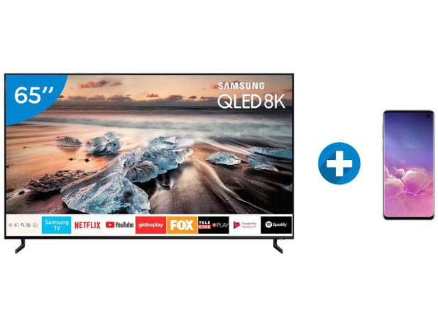 "2bf51998708 Smart TV 8K QLED 65"" Samsung QN65Q900RB - HDR 3000 + Smartphone Galaxy S10  128GB Preto"