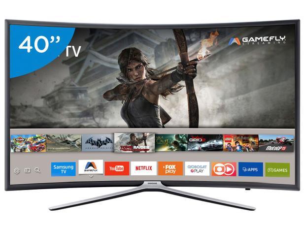 """812b21872 Smart TV LED Curva 40"""" Samsung Full HD 40K6500 - Conversor Digital Wi-Fi 3  HDMI 2 USB"""