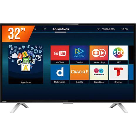 Imagem de Smart TV LED Tela 32 HD Toshiba L2800 2 HDMI 1 USB Wi-Fi Integrado Conversor Digital