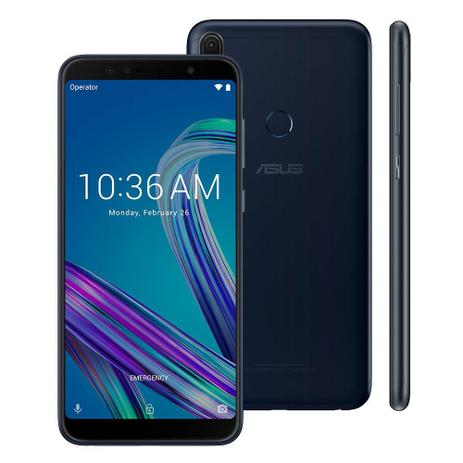 "Imagem de Smartphone Asus ZenFone Max Pro (M1) 32GB Preto 4G - 3GB RAM Tela 6"" Câm. 13MP + 5MP + Selfie 8MP"