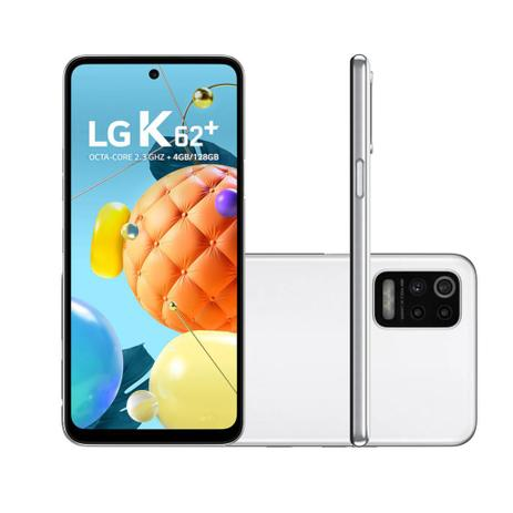 """Imagem de Smartphone LG K62+ 128GB 4GB RAM Câmera Quadrupla +  Frontal 13MP Tela 6,6"""" Android 10.0 - Branco"""