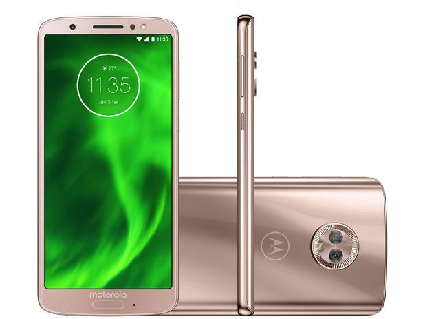 e4f3ef26910 Smartphone Motorola Moto G6 64GB Ouro Rosê - Dual Chip 4G Câm. 12MP e 5MP +  Selfie 8MP Flash