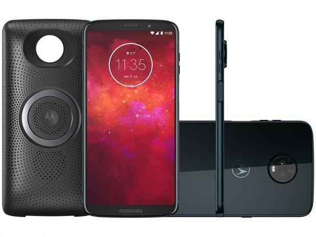 "0dad1046ce508 Smartphone Motorola Moto Z3 Play - Stereo Speaker Edition Dual Chip Android  Oreo - 8.0 Tela 6"" Octa- R$ 2.270,00 à vista. Adicionar à sacola"