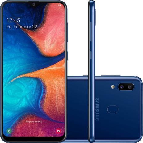 """Imagem de Smartphone Samsung Galaxy A20 32GB Dual Chip Android 9.0 Tela 6.4"""" Octa-Core 4G Câmera Dupla 13MP + 5MP - Azul"""