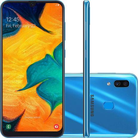 """Imagem de Smartphone Samsung Galaxy A30 64GB Azul 4G - 4GB RAM 6,4"""" Câm. Dupla + Câm. Selfie 16MP"""