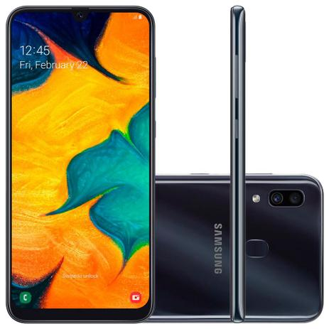 Imagem de Smartphone Samsung Galaxy A30 64GB Dual Chip 4G Tela 6,4 Câmera 16MP e 5MP Frontal 16MP Android 9.0 Preto