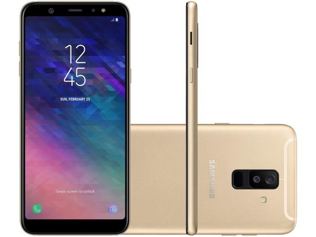 8772106349 Smartphone Samsung Galaxy A6+ Plus 64GB Dourado - Dual Chip 4G - Octa Core  4GB RAM Tela 6 - Câm. 16MP e 5MP + Selfie 24MP Flash