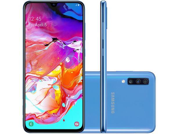 """Smartphone Samsung Galaxy A70 128GB Azul 4G - 6GB RAM Tela 6,7"""" Câm. Tripla + Selfie 32MP"""