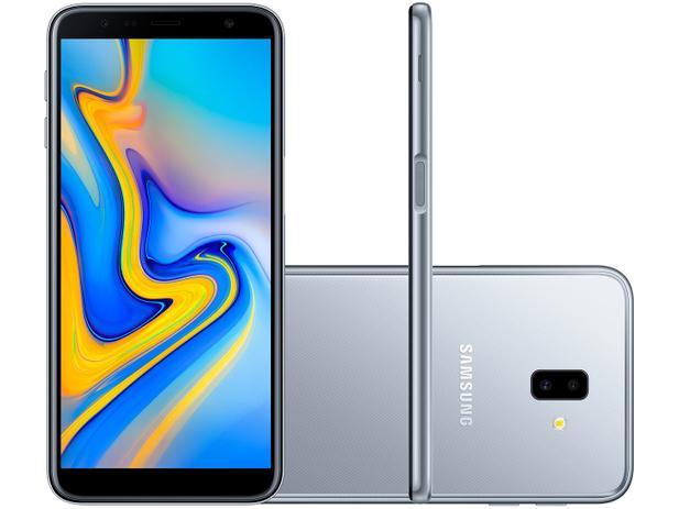 "8fc1617ee Smartphone Samsung Galaxy J6+ 32GB Prata 4G - 3GB RAM Tela 6"" Câm. Dupla +  Câm. Selfie 8MP"