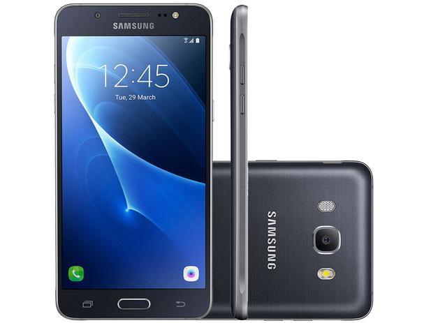 "Smartphone Samsung Galaxy J7 Metal 16GB Preto - Dual Chip 4G Câm 13MP + Selfie 5MP Flash Tela 5.5"""
