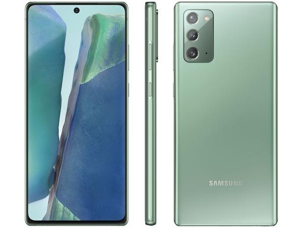 "Menor preço em Smartphone Samsung Galaxy Note 20 256GB Mystic - Green 8GB RAM Tela 6,7"" Câm. Tripla + Selfie 10MP"
