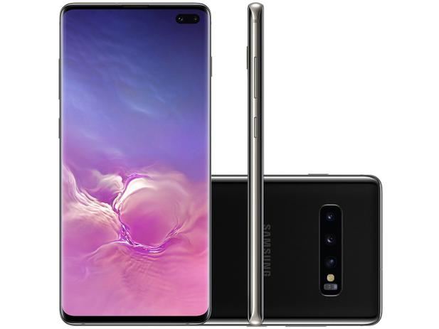 "Smartphone Samsung Galaxy S10+ 128GB Preto 4G - 8GB RAM 6,4"" Câm. Tripla + Câm. Selfie Dupla"