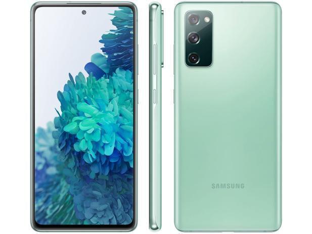 "Smartphone Samsung Galaxy S20 FE 128GB - Verde, Processador Qualcomm Snapdragon 865 - 2.8GHz, 4G, Câmera Frontal 32MP, RAM 6GB, Tela 6.5"""