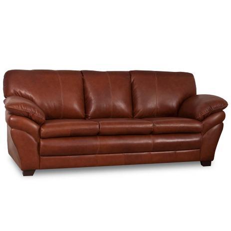 sofá 3 lugares bradley couro marrom mobly sofás magazine luiza