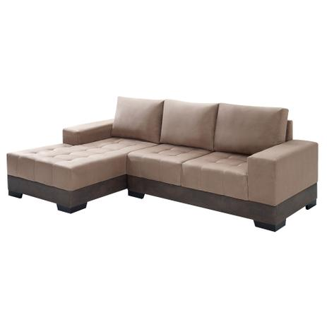 Sof 3 lugares com chaise patr cia suede chocolate for Sofa 03 lugares com chaise