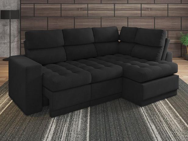 Brilliant Sofa 4 Lugares Canto Com Chaise Retratil Miro Velosuede Preto 2 16M L Netsofas Pdpeps Interior Chair Design Pdpepsorg