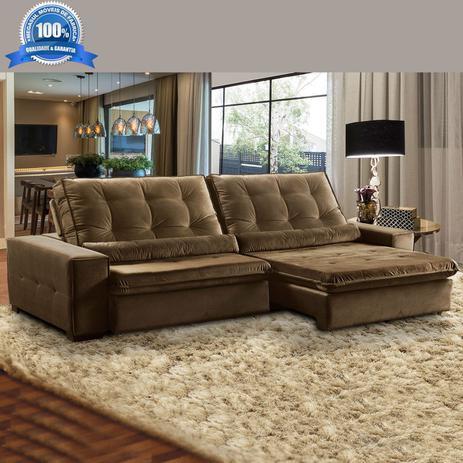 aaa6c20f3 Sofá 4 Lugares Retrátil e Reclinável Assento Super Pillow 270x180 cm  Confort Veludo Marrom - MegaSul
