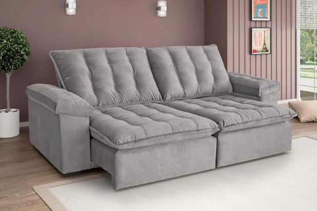 f9e0dfa5a Sofá assento retrátil e encosto reclinável 2 lugares 2.3m Itaguaí Cinza  Estofart