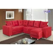 Imagem de Sofá de Canto 6 Lugares com Chaise 5070 vermelho Almofadas Soltas Tecido Suede