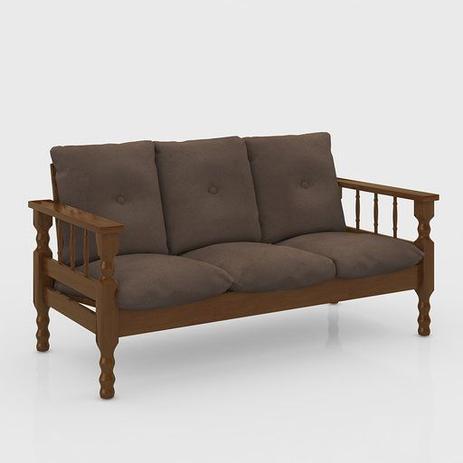 Sofa madeira macica 3 lugares - Belini - Sofás - Magazine ...