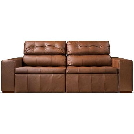 sofá retrátil 2 lugares 210cm canova max couro conhaque spazzio