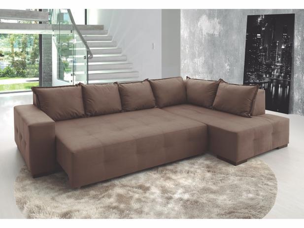 Sensational Sofa Retratil Com Chaise 3 Lugares Em Suede Luka Marrom Estofama Machost Co Dining Chair Design Ideas Machostcouk